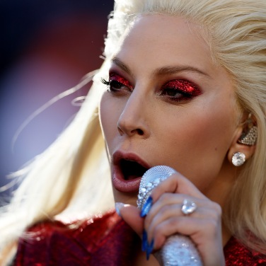 SANTA CLARA, CA - FEBRUARY 07: Singer Lady Gaga performs during Super Bowl 50 between the Denver Broncos and the Carolina Panthers at Levi's Stadium on February 7, 2016 in Santa Clara, California. (Photo by Patrick Smith/Getty Images)
